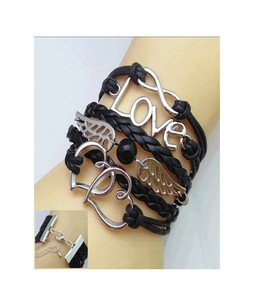 Scenic Accessories Multi-Layered Leather Love Bracelet for Women - Black
