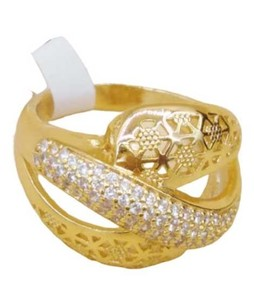 Waks Pk Gold Plated Curvy Ring For Women (0350)