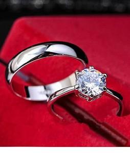Shoppingmania Platinum Diamond Ring For Couple Silver (0091)