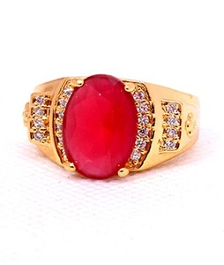 Eshaal Fashion Ruby Stones Womens Gold Plated Ring