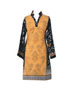 Khas Stores Khaddar Kurti For Women Mustard Black (DR-179)