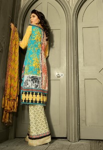 Asim Jofa Embroidered Luxury Lawn Collection 2018 Ferozi (AJL-09A)