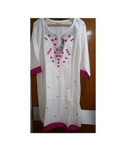 Sports Intelligence Embroidered Kurti For Women White/Pink