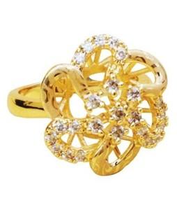 Waks Pk Gold Plated Flower Ring For Women (0358)