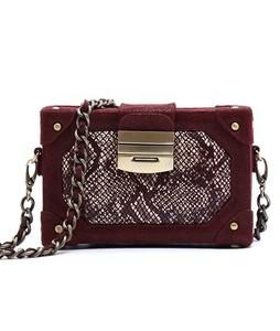 Julke Glam Mini Box Occasion Wear Womens Clutch Burgundy