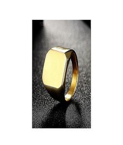MM Mart Jewellers Trendy Signet Ring For Men - Gold (1045)