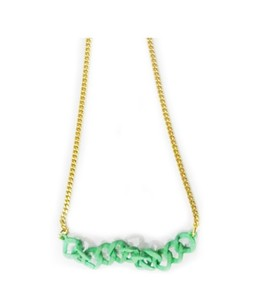 Sports Intelligence Gold Chained Necklace Green (PG-0122)