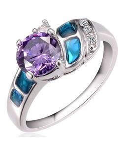 Shoppingmania Diamond Gem Ring For Women Silver (0084)