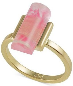 French Connection Gold Tone Cylinder Stone Ring