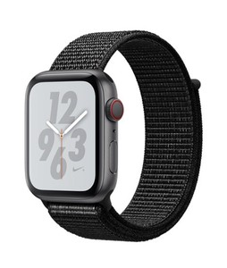 Apple iWatch Series 4 44mm Space Gray Aluminum Case With Black Nike+ Sport Band  – GPS (MU7J2LL)