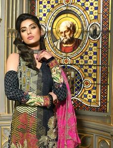 Asim Jofa Embroidered Luxury Lawn Collection 2018 Black (AJL-09B)