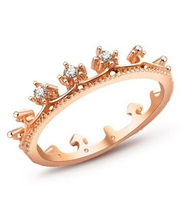 Shoppingmania Drill Crown Ring For Women Gold (0085)
