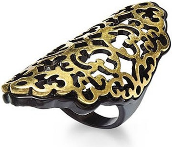 Bar III Black and Gold Tone Lace Filigree Knuckle Ring