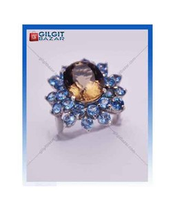Gilgit Bazar Topaz and Peridot Stone Ring For Women (GB1147)