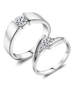Shoppingmania Platinum Diamond Ring For Couple Silver (0090)