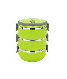 7eleven Stainless Steel 3 Layers Lunch Box Green