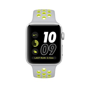 Apple iWatch Series 2 38mm Silver Aluminum Case with Flat Silver/Volt Nike Sport Band (MNYP2)