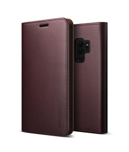 VRS Design Genuine Leather Diary Series Wine Red Case For Galaxy S9+
