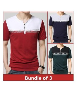 Rajani Collection Block Printed Placket Open Neck T Shirts Pack of 3