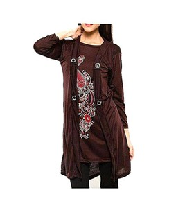 Bindas Collection Printed Coat Style Top For Women Brown (IL-0092)
