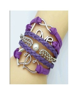 Scenic Accessories Multi-Layered Leather Love Bracelet For Women - Purple