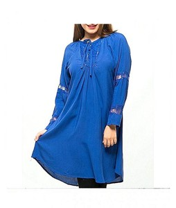 Bindas Collection Linen Net Sleeves Top For Women Blue (IL-0052)