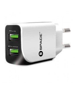 Space Dual USB Port Wall Charger White (WC 110)