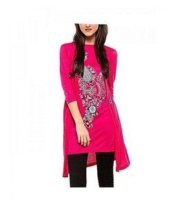 Bindas Collection Printed Coat Style Top For Women Pink (IL-0091)