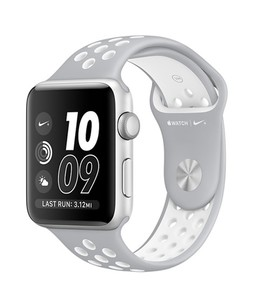 Apple iWatch Series 2 38mm Silver Aluminum Case with Flat Silver/White Nike Sport Band (MNNQ2)