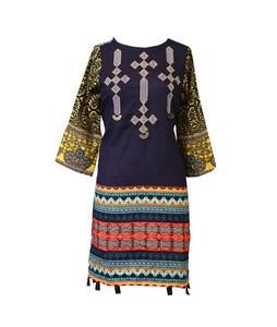 Khas Stores Embroidered Khaddar Kurti For Women Navy Blue (DR-161)