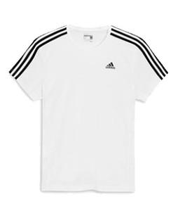 Next Adidas Essential 3 Stripe Mens T-Shirt White (441-170)