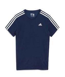 Next Adidas Essential 3 Stripe Mens T-Shirt Navy (444-502)
