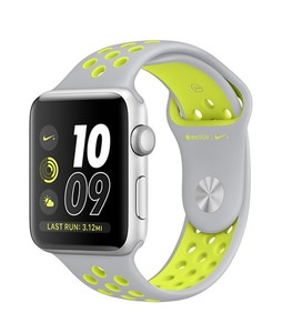 Apple iWatch Series 2 42mm Silver Aluminum Case with Flat Silver/Volt Nike Sport Band (MNYQ2)