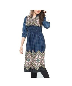 Bindas Collection Viscose Printed Tunic For Women Navy Blue (IL-0177)