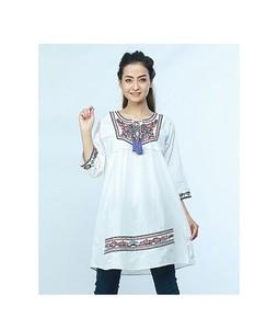 ISEL Embroided Women Ethnic Short Length Kurti White (Ck010)