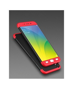 Khalid Accessories 360 Degree Red & Black Case For Oppo A37