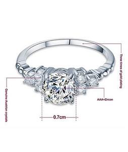 HnJs Elegant Zirconia Ring For Women - White Gold