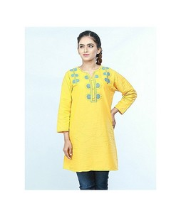 ISEL Embroided Women Ethnic Short Length Kurti Yellow (Ck005)