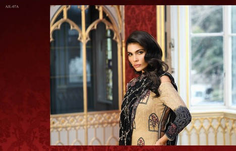 Asim Jofa Embroidered Luxury Lawn Collection 2018 Beige and Black (AJL-07A)