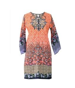 Khas Stores Khaddar Kurti For Women Printed Orange (DR-177)
