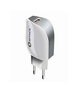 Space 2.4 A Adaptive Fast Charger For IOS & Android Grey