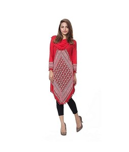 Mardaz Viscose Printed Tunic For Women Red