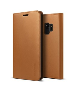 VRS Design Genuine Leather Diary Series Brown Case For Galaxy S9