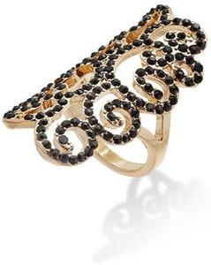Bar III Gold-Tone Jet Stone Scroll Ring