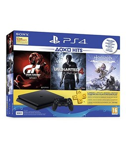 Sony PlayStation 4 500GB Slim Console with Free Games Gran Turismo - Sport  Uncharted 4 and Horizon Zero Dawn