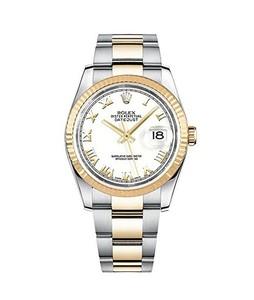 Rolex Datejust 36 Mens Watch Yellow Gold (116233-WHTRO)