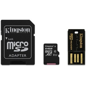 Kingston 64GB microSDXC Memory Card Kit With USB & SD Adapters (MBLY10G2)