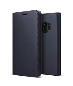 VRS Design Genuine Leather Diary Series Navy Case For Galaxy S9