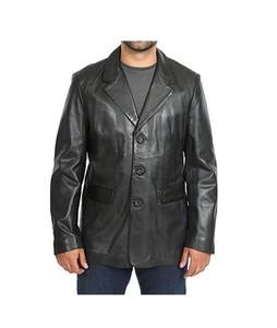 Shandarsale Leather Coat/Jacket For Men Black (0235)