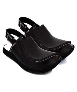 Oasis Leather Peshawari Sandals For Men Black